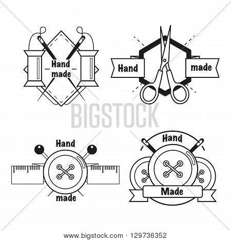 Handmade black thin line icons on white background. Handmade workshop logo set for sewing.Vector illustration