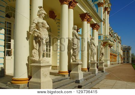 PUSHKIN, ST PETERSBURG, RUSSIA - MAY 06, 2016: Detail of the facade of the Catherine Palace in Tsarskoye Selo