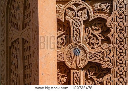 khachkar pattern on volcanic tuff texture traditional Armenian cross