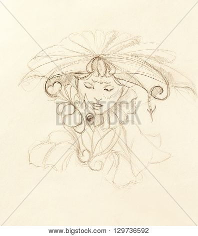 mystic woman with flower. pencil drawing on paper