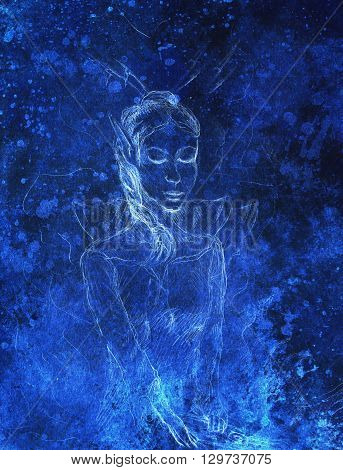 Drawing of elf woman, pencil sketch on paper, blue vinter effect