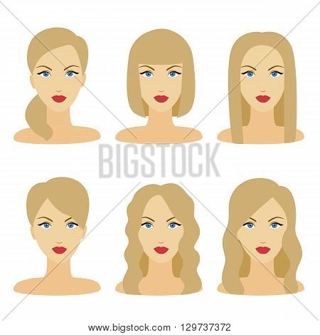 Vector Design Of Beautiful Collection Of Female Hairdo