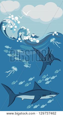 sharks, jellyfish and fish underwater vector illustration