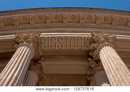 Elements of colonnade and the ceiling - capital architrave. Kazan Cathedral in Saint-Petersburg Russia.