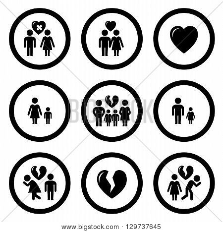 set of round isolated family situation concept symbols
