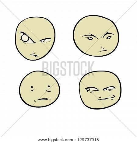 Four smiley. Persons with different emotions. On a white background.
