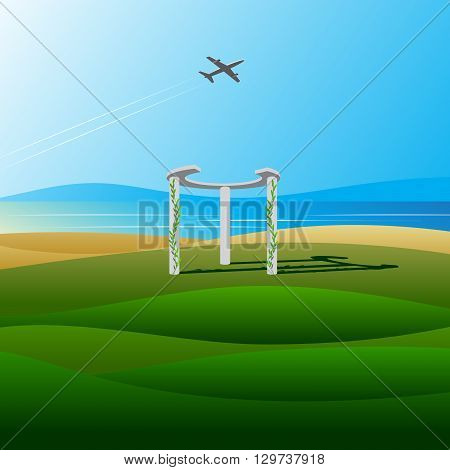Beach. An arch on the beach with plants and the plane against the blue sea, the sky and mountains