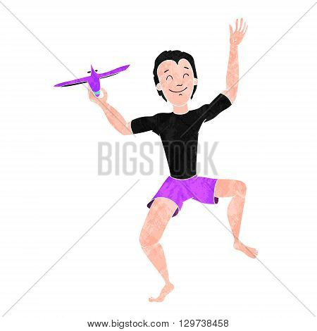 Boy Playing With Toy Aircraft or Plane colorized texture