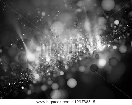 Bubble bokeh in space intensity map black and white computer generated intensity map