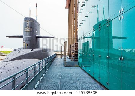 Cherbourg France - May 21 2012: Normandy La Cite De La Mer the nuclear submarine 'Le Redoutable'