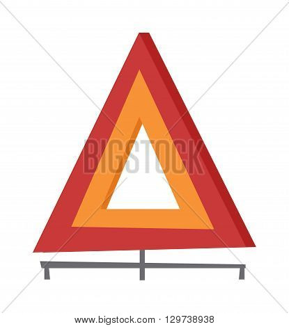 Emergency warning triangle vector and emergency triangle accident red sign. Safety traffic road emergency triangle and warning vehicle emergency triangle. Travel failure trouble emergency triangle.