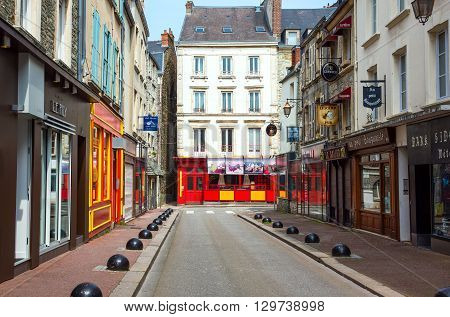 Cherbourg France - May 21 2012: Normandy traditional houses and stores in the old city center.