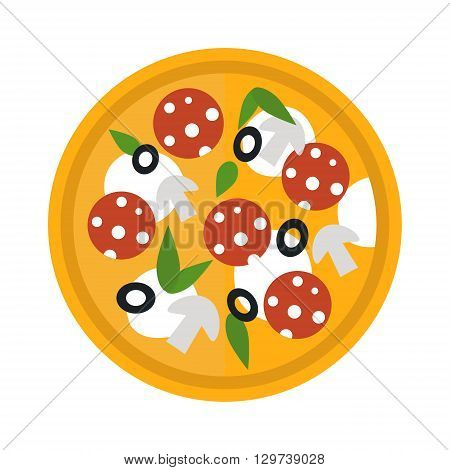 Delicious italian pizza isolated. Pizza top view vector and tasty pizza top view. Pizza top view crust, dinner, tomato and baked pizza top view. Traditional slice meat basil vegetable pizza food.