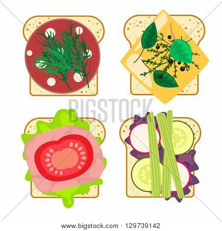Sandwich set isolated vector illustration. White toasted bread with ham, vegetables and cheese. Fast food snack.