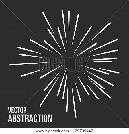 Abstract vector rays on dark background. Explosive illustration with dynamic shapes. Monochrome wallpaper with sparkle. Holiday firework with text template. Dynamite burst. Dynamic blast elements.
