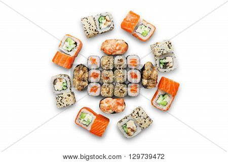 Japanese food restaurant, sushi maki gunkan roll plate or platter set. California Sushi rolls with salmon. Sushi isolated at white background. Top view, flat lay