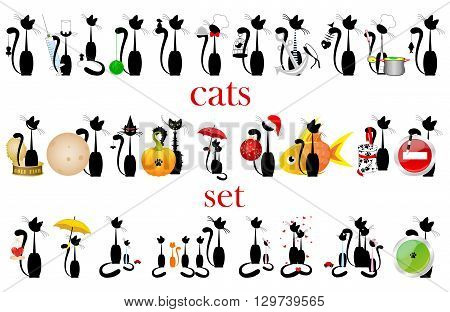 set of silhouette  black cats. vector. isolated