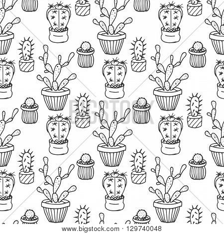 Cactus seamless pattern illustration. Vector succulent and cacti hand drawn set. In door plants in pots. Exotic mexican flora design.