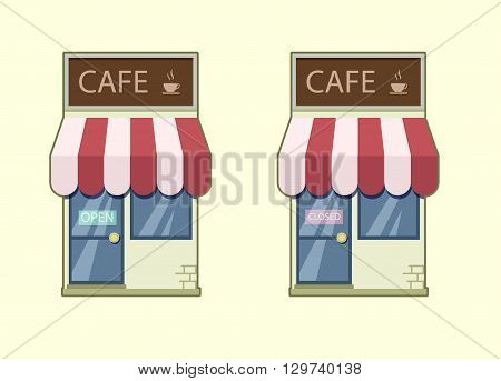 Cafe icon vector. Cafe open closed. Stock illustration