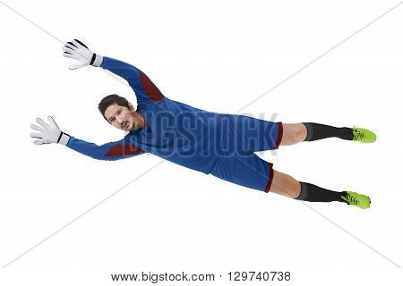 Image of goalkeeper catch ball isolated over white background