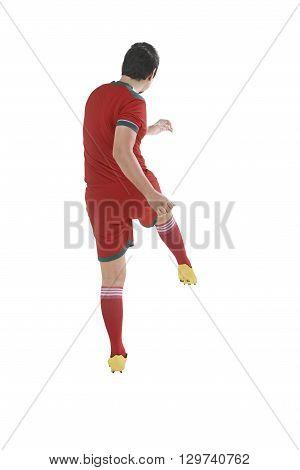 Back View Of Asian Football Player Kick Ball