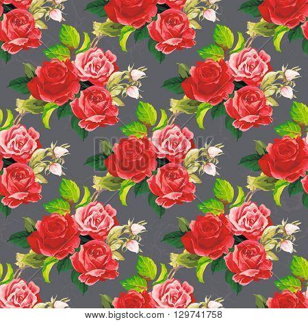 Seamless floral pattern rose Vector Illustration EPS8