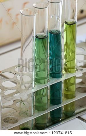 Test tubes school laboratory group objects chemical theme.