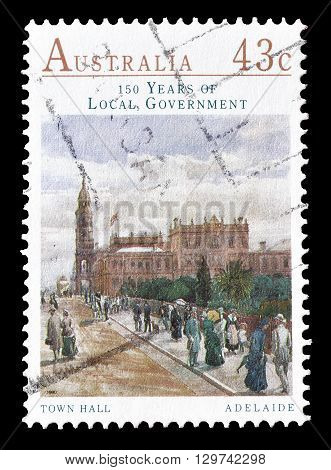 AUSTRALIA - CIRCA 1990 : Cancelled postage stamp printed by Australia, that shows Town hall in Adelaide.