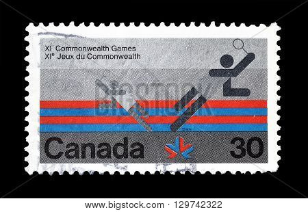 CANADA - CIRCA 1978 : Cancelled postage stamp printed by Canada, that promotes Commonwealth games.