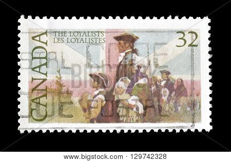 CANADA - CIRCA 1984 : Cancelled postage stamp printed by Canada, that shows Loyalists and British Flag.