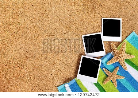 Beach scene with blank instant photo print frames