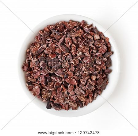 Bowl Of Cacao Nibs Isolated On White, From Above