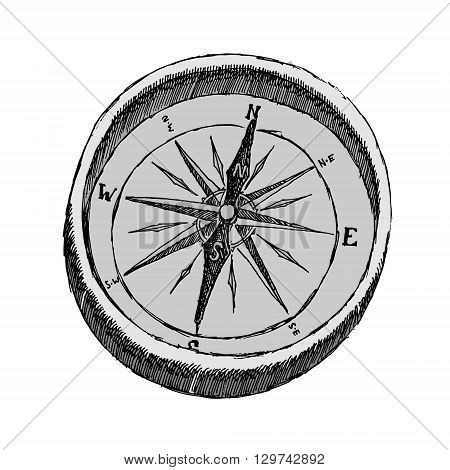 Vintage brass compass. Isolated on white background