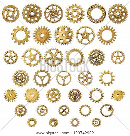 Set of Vintage Mechanical Cogwheel Gears Wheels isolated on white background