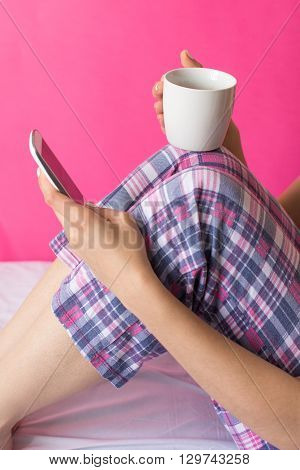 Woman In Pijama Having Cup Of Coffee