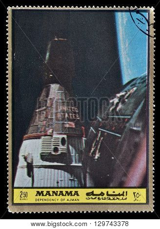 MANAMA - CIRCA 1969 : Cancelled postage stamp printed by Manama, that shows Space ship.