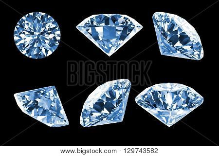 Blue Diamonds six view on black-3D Illustrations.