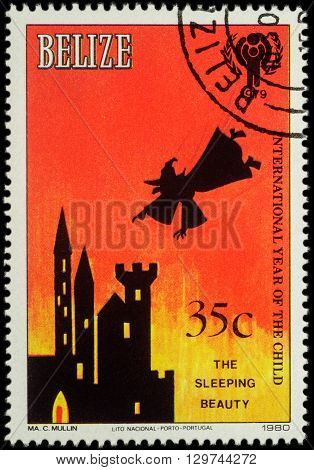 MOSCOW RUSSIA - MAY 14 2016: A stamp printed in Belize shows illustration to fairy tale