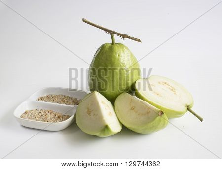 Fresh Vietnam guava & leave in white background