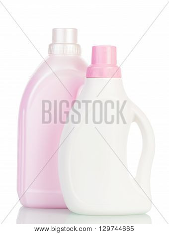Plastic bottle with liquid bleach and powder isolated on white background