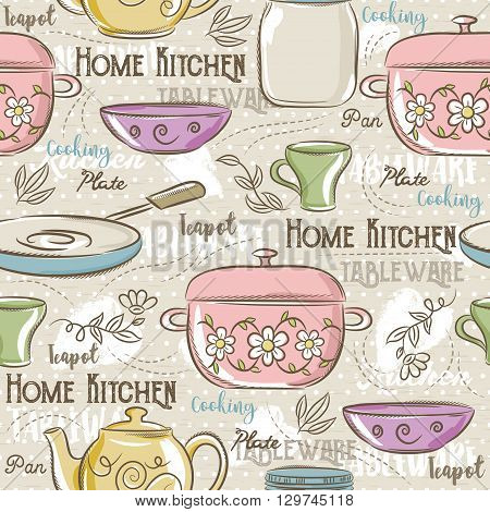 Seamless Patterns with different tablewareflower potcup and text. Ideal for printing onto fabric and paper or scrap booking.