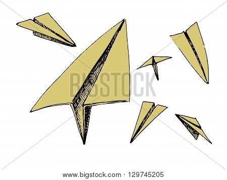 Paper planes set. Colorful vector stock illustration. Isolated on white background
