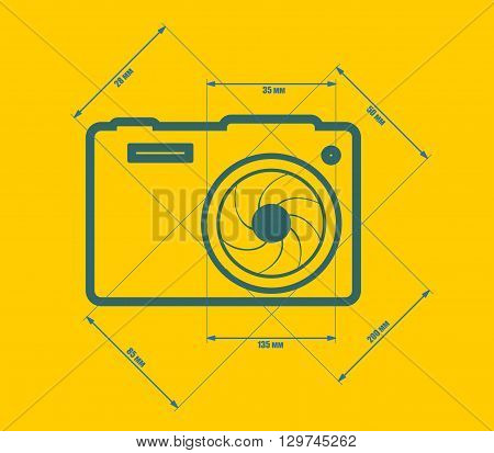 Photo camera icon. Blue outline silhouette. Measure lines with focal length data.