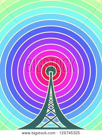 Wi Fi Symbol on rainbow circles backdrop. Mobile gadgets technology relative image