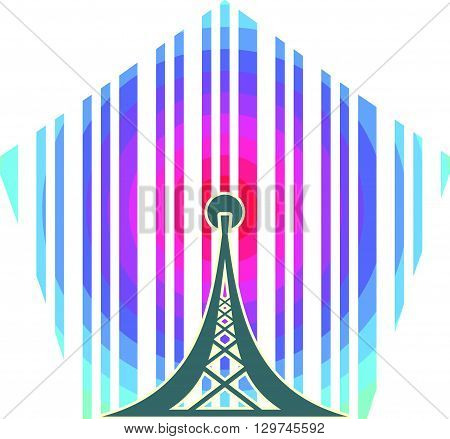 Wi Fi Symbol on rainbow circle striped backdrop. Mobile gadgets technology relative image