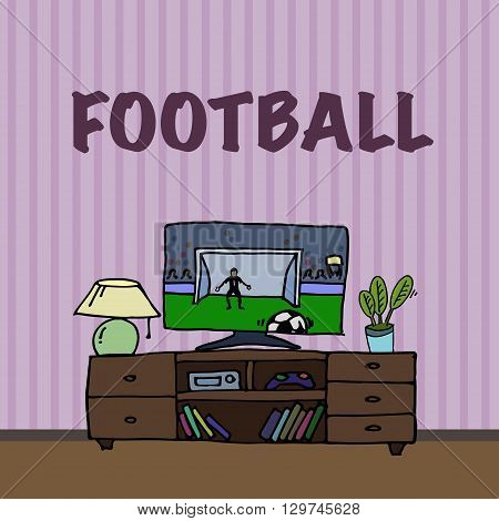 Television, TV watching football, soccer match. Cartoon style illstration