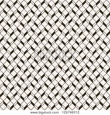 Monochrome seamless pattern. Modern stylish geometric texture with regularly repeating hexagons rhombus. Vector element of graphic design