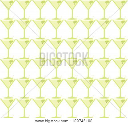 Seamless Martini Coctail Party Green Glass Pattern