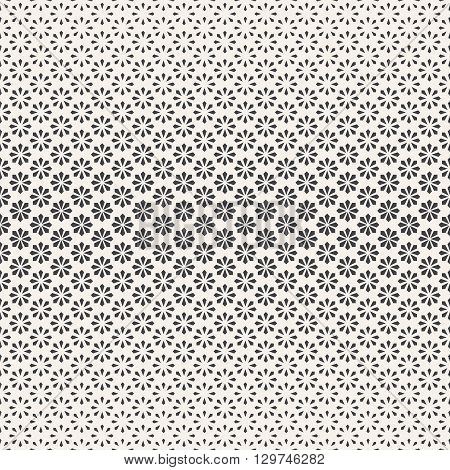 Seamless pattern. Abstract halftone background. Modern stylish texture. Repeating tiled grid with geometric flowers of the different size. Vector contemporary design