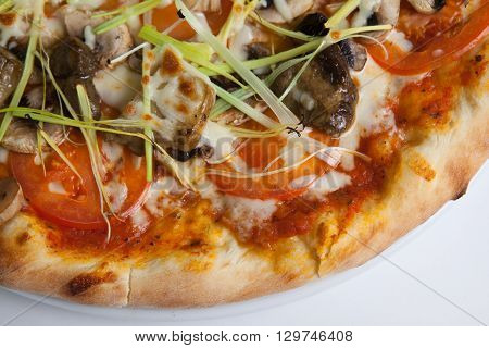 Freshly baked whole pizza with cep mushrooms